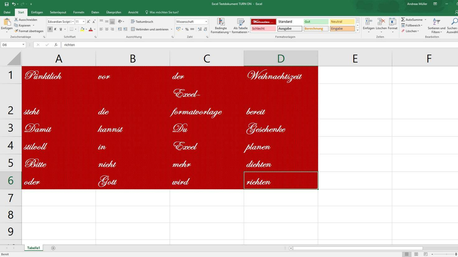 PC Microsoft Excel Formatvorlagen Zellen formatieren final