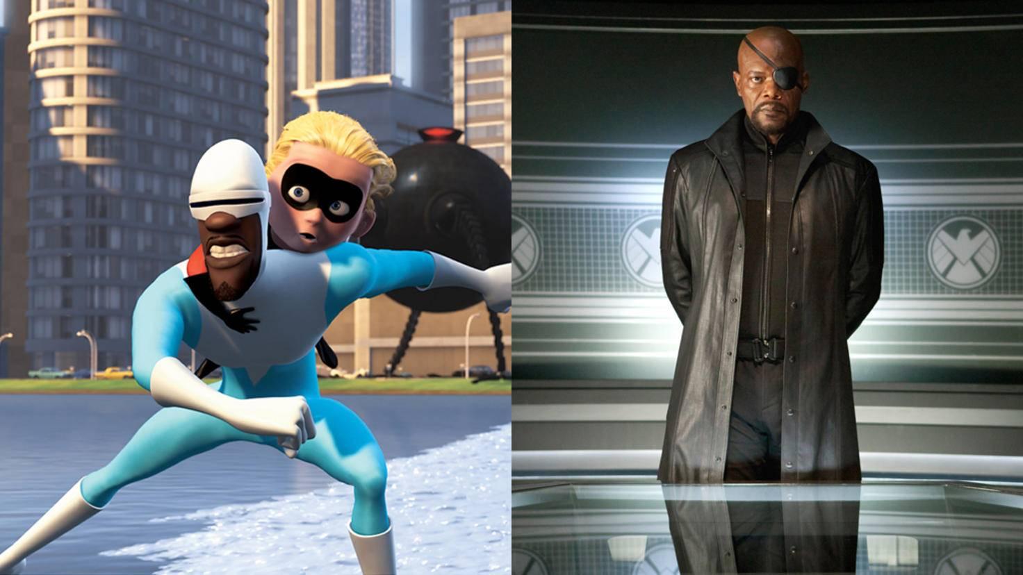 """Samuel L. Jackson überzeugt sowohl als Stimme von """"Eismann"""" Frozone (l.) als auch als knallharter S.H.I.E.L.D-Direktor Nick Fury."""