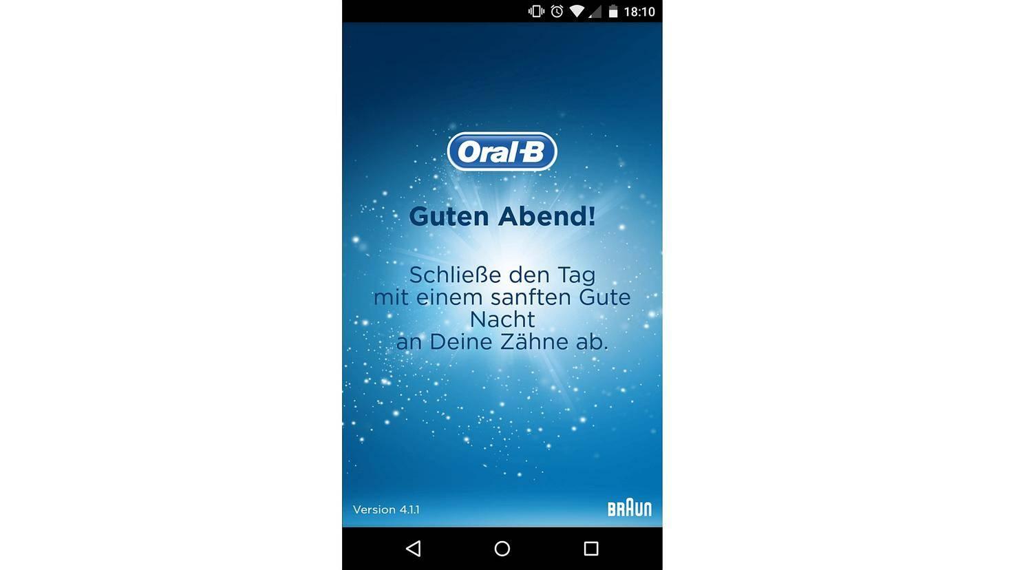 Die Oral-B-App findet immer freundliche Begrüßungsworte.