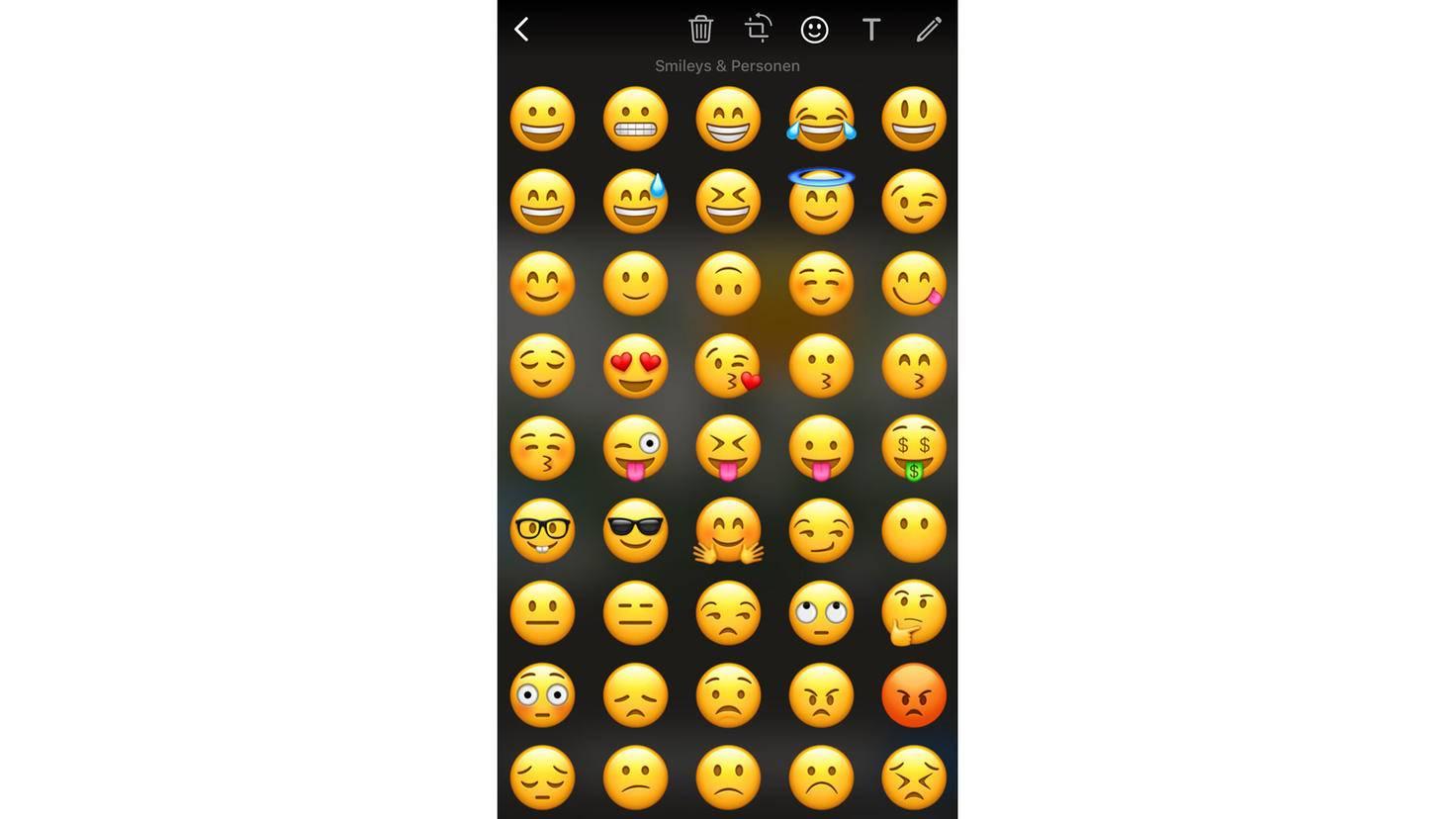 Zur Auflockerung stehen dutzende Emojis zur Wahl.