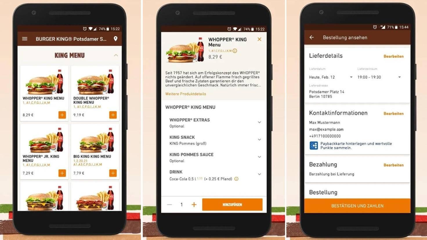 Heute Abend ein Whopper-Menü? Kein Problem, dank der Lieferservice-App von Burger King.