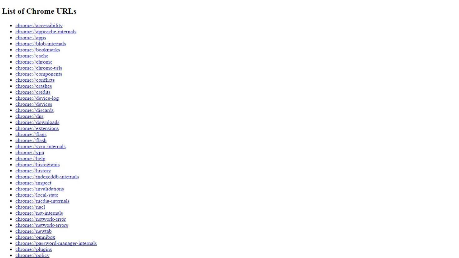 Chrome Befehle List of Chrome URLs