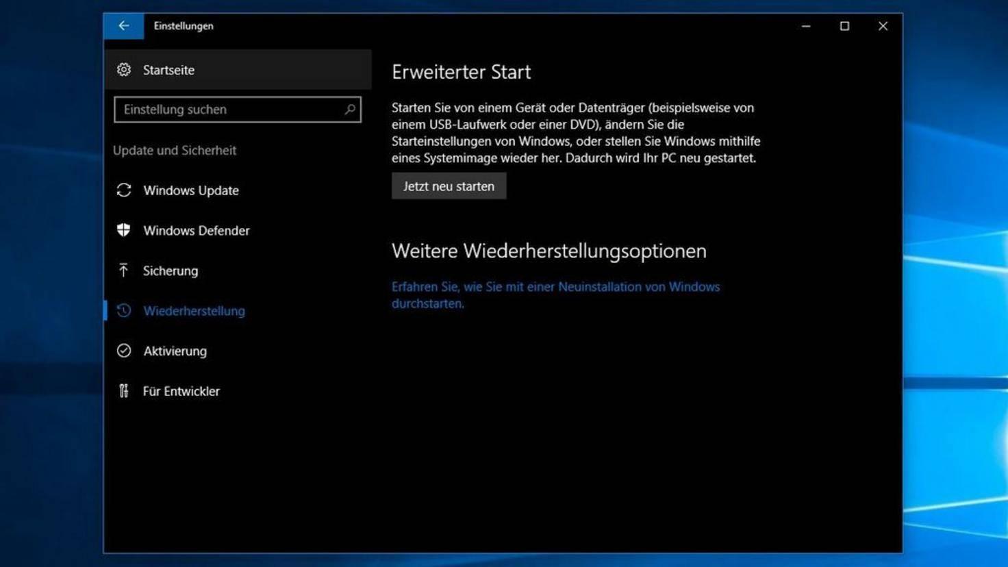 Erweiterter Start Windows