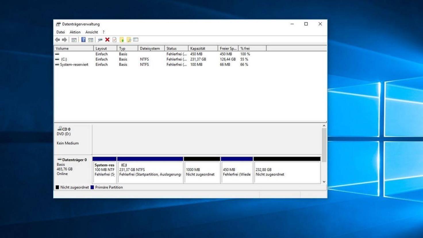 Nicht zugeordneter Speicher Windows