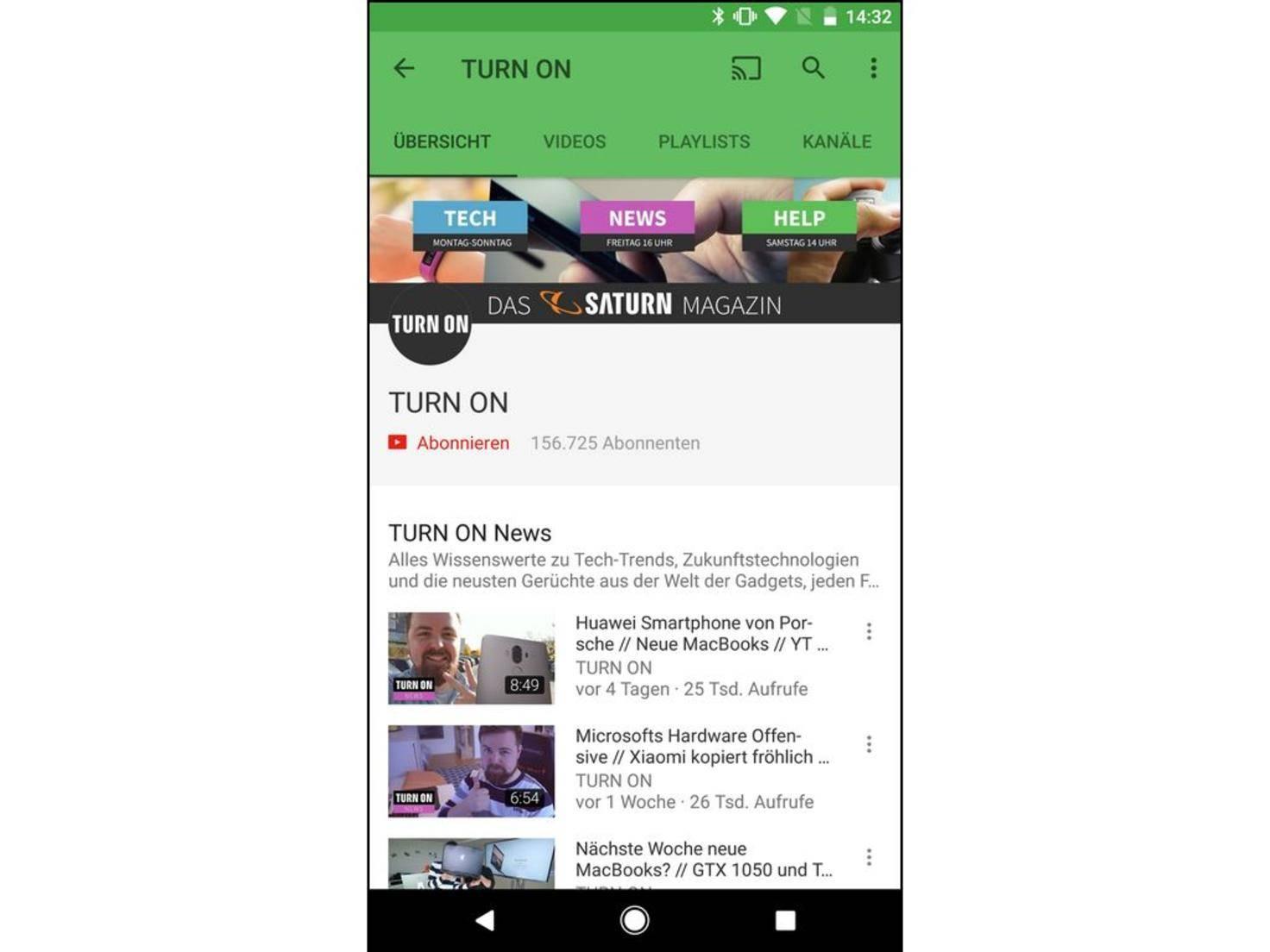 YouTube TURN ON