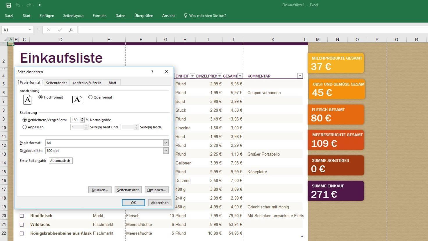 Excel Druckbereich anpassen