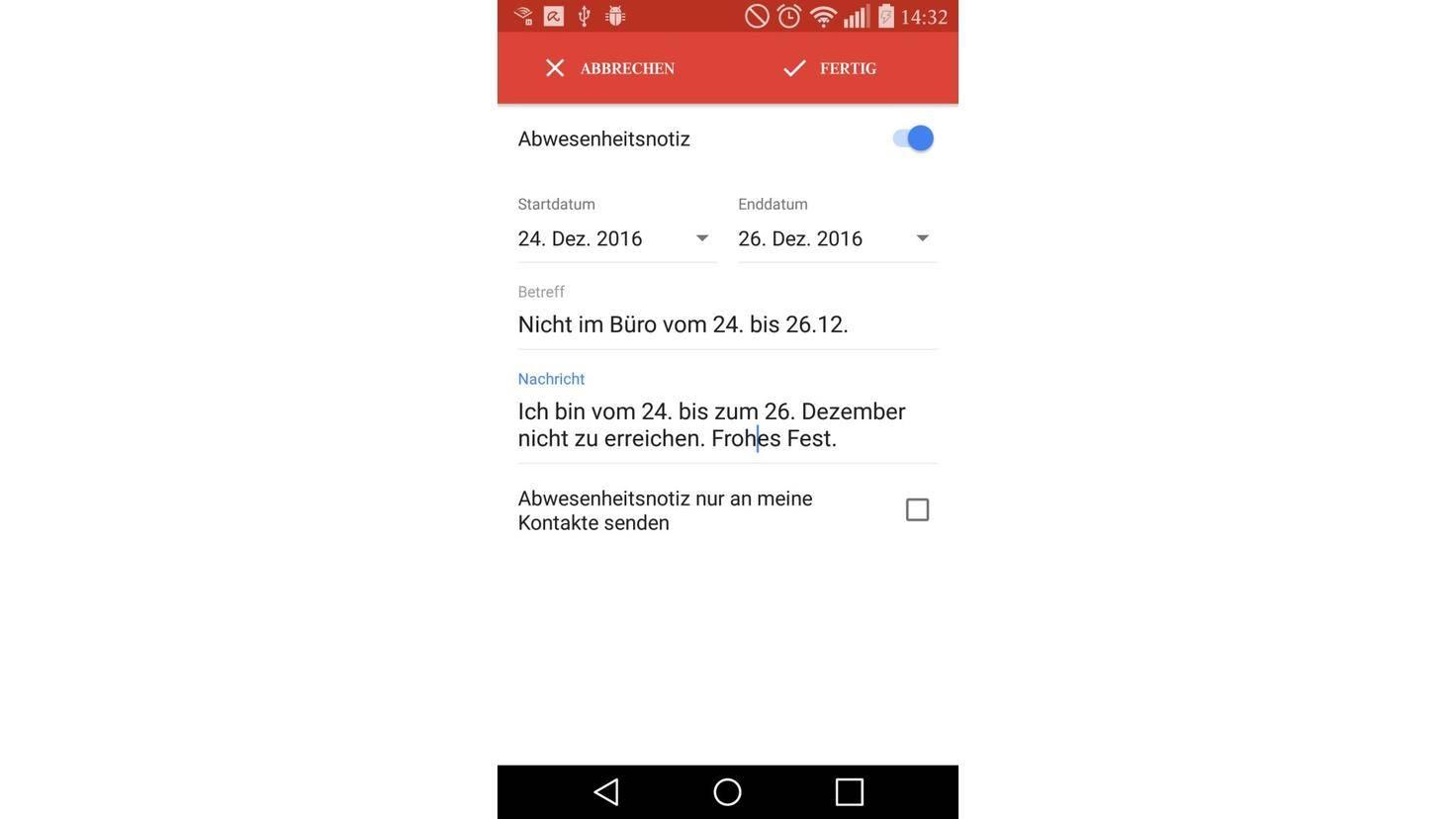 Google Mail Abwesenheitsnotiz