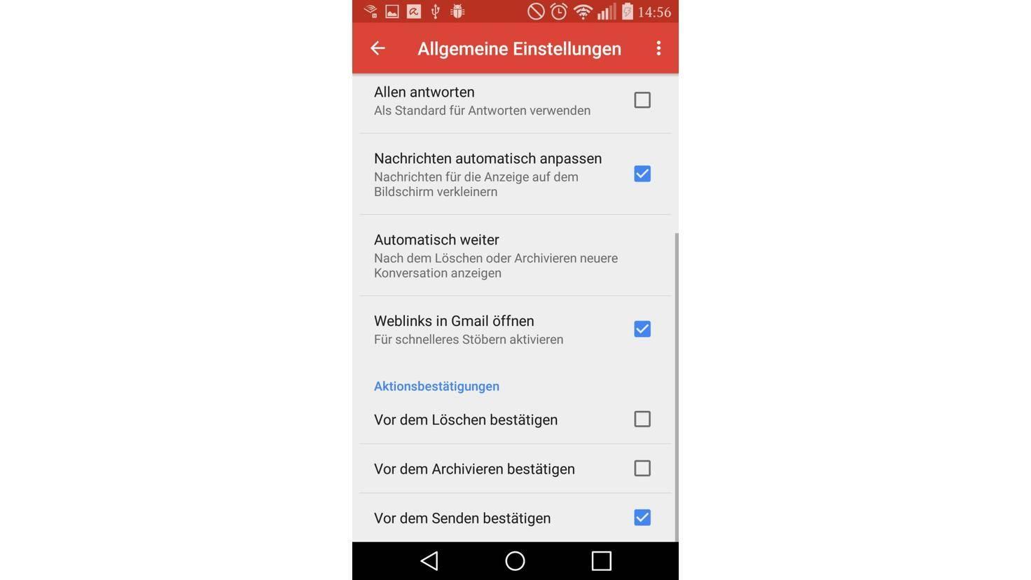 Google Mail Aktionsbestätigungen