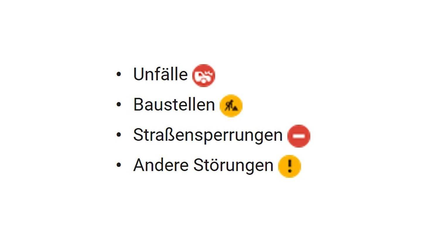 Google Maps Verkehr Symbole