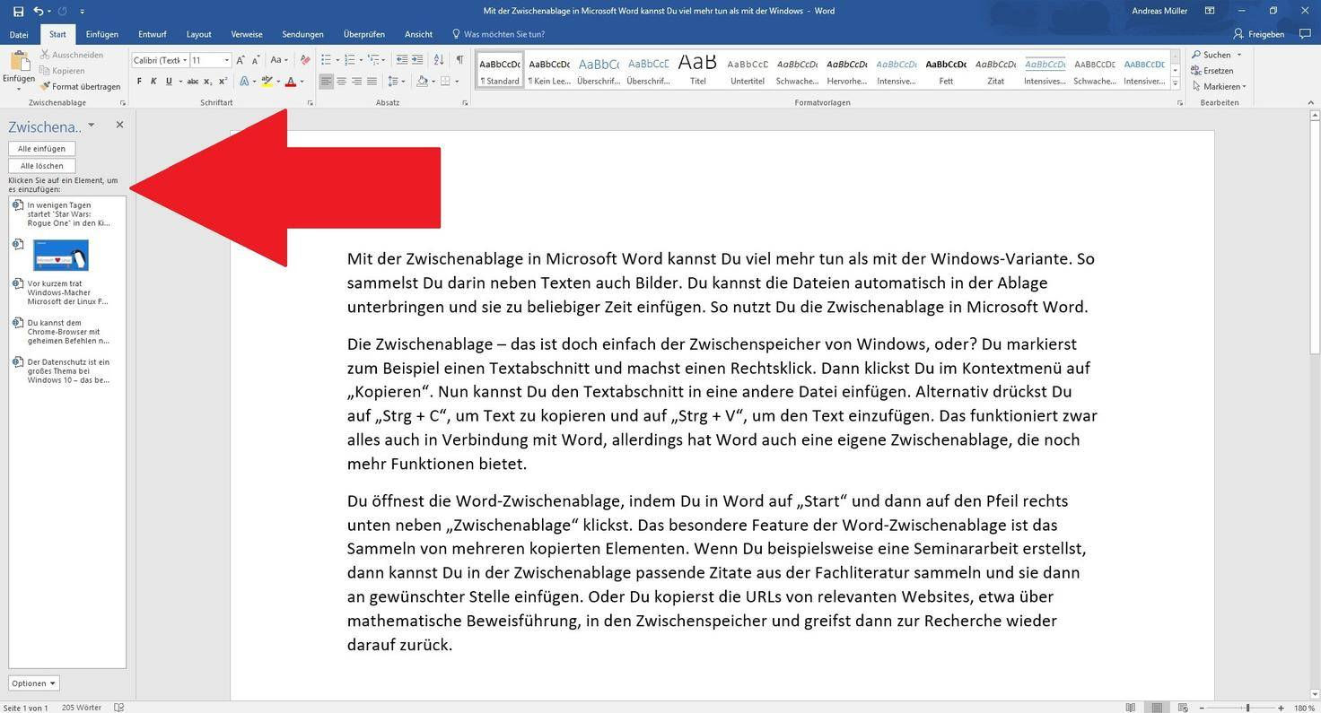Microsoft Word Zwischenablage