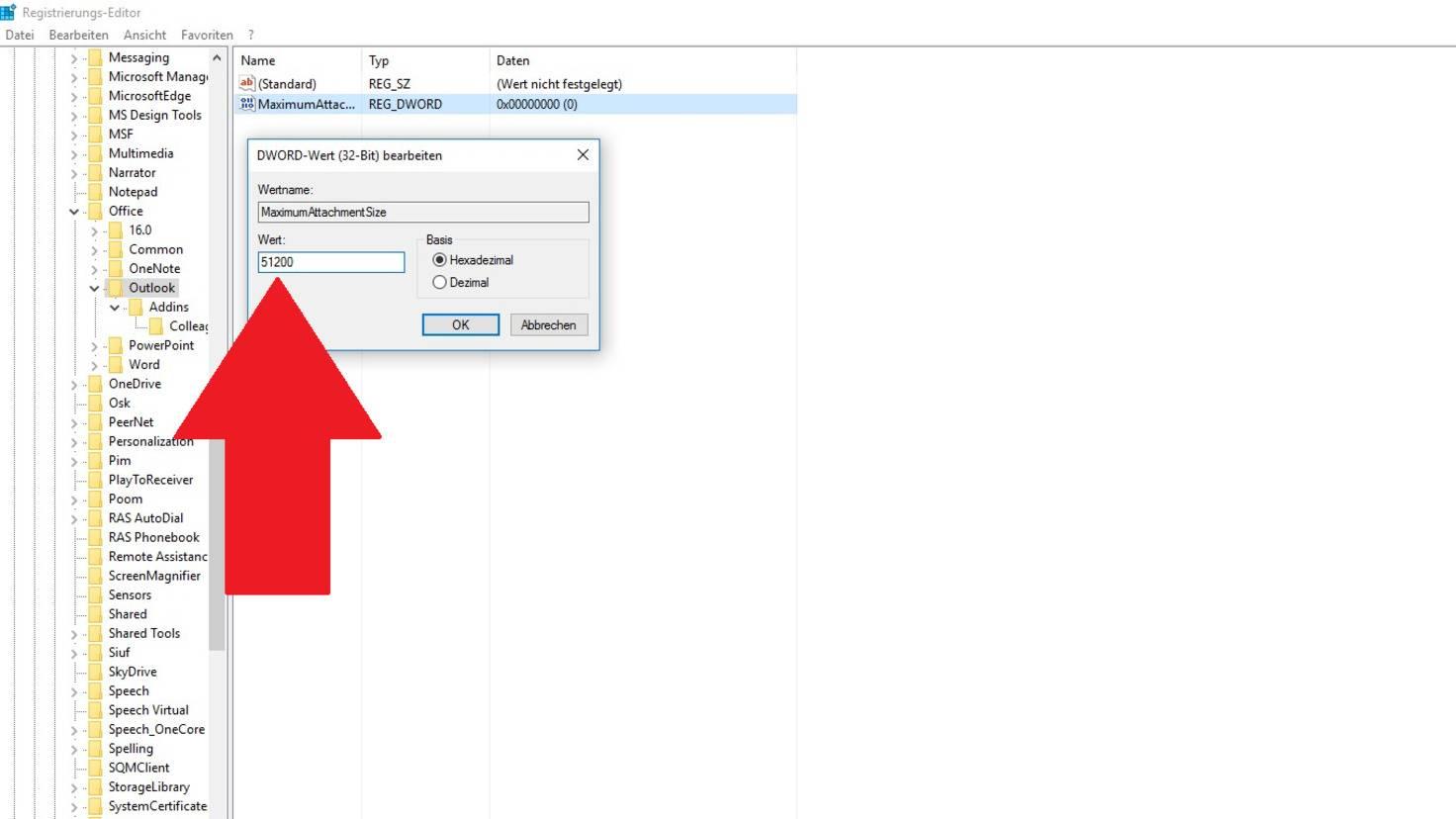Registry Windows E-Mail Limit aufheben