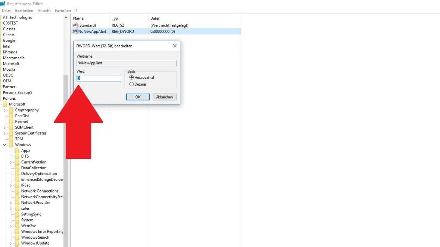 Windows 10 Benachrichtigungen Registry