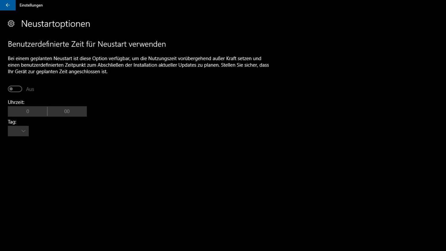 Windows 10 Neustartoptionen