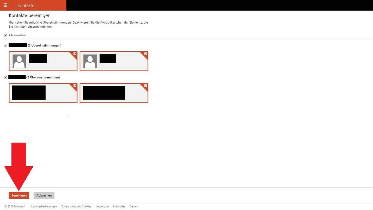 Windows Kontakte zusammenführen