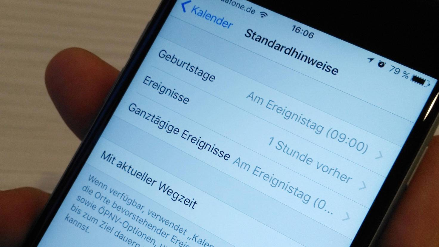 iPhone Kalender Hinweise