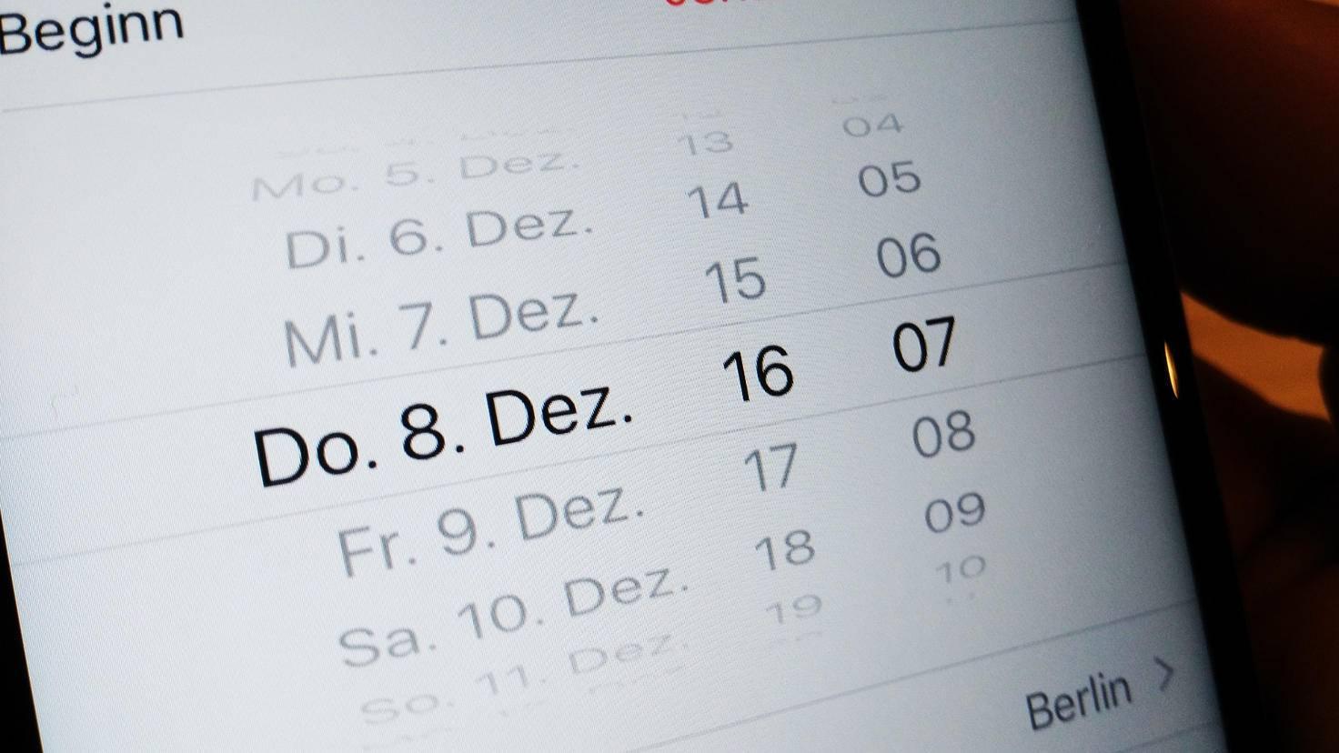 iPhone Kalender Minuten