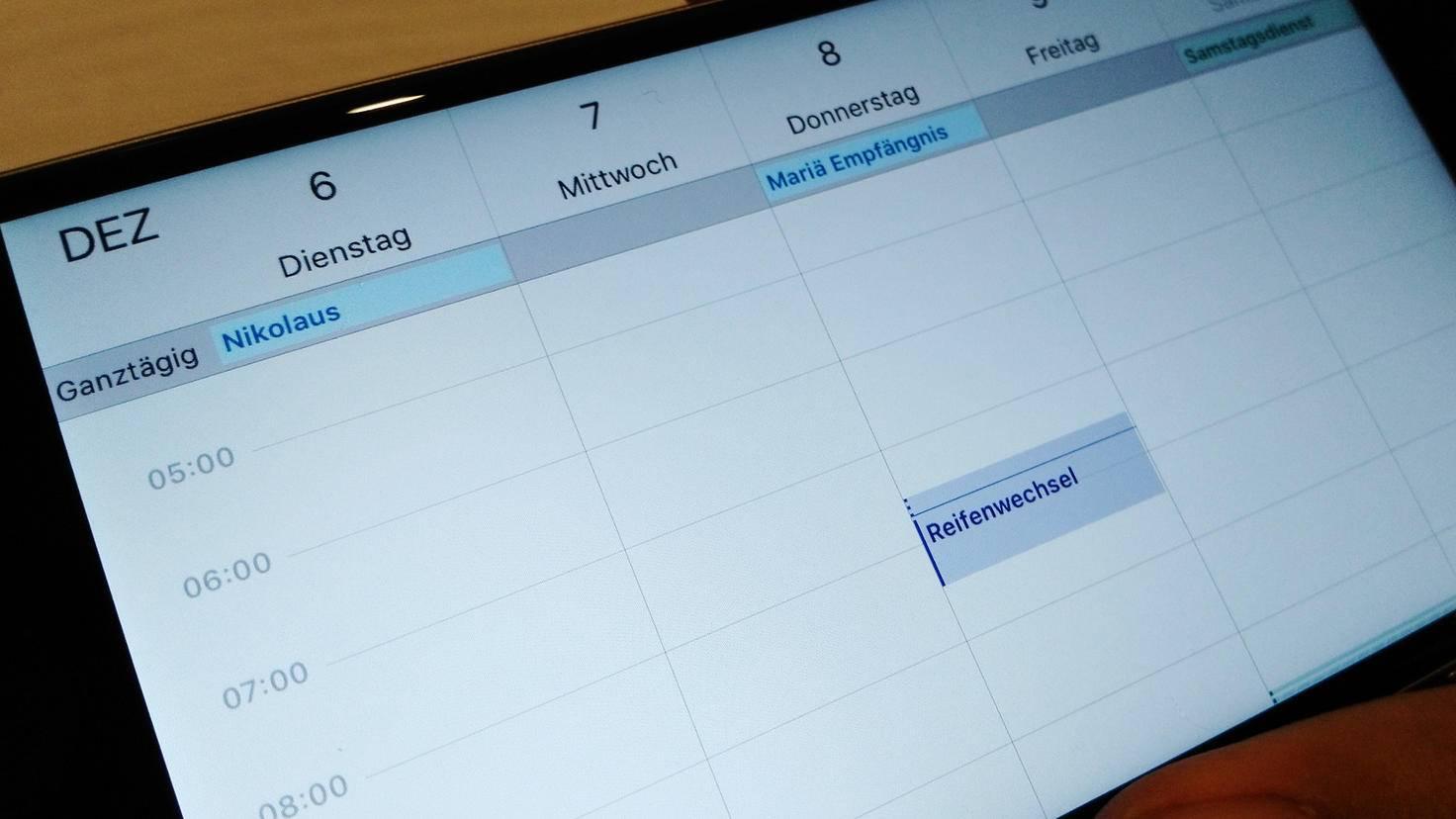 iPhone Kalender Wochenansicht