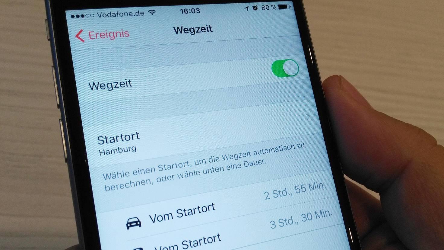 iPhone Wegzeit Kalender