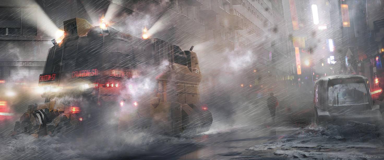 """Konzeptbild: Düstere Atmosphäre im """"Blade Runner""""-Sequel."""