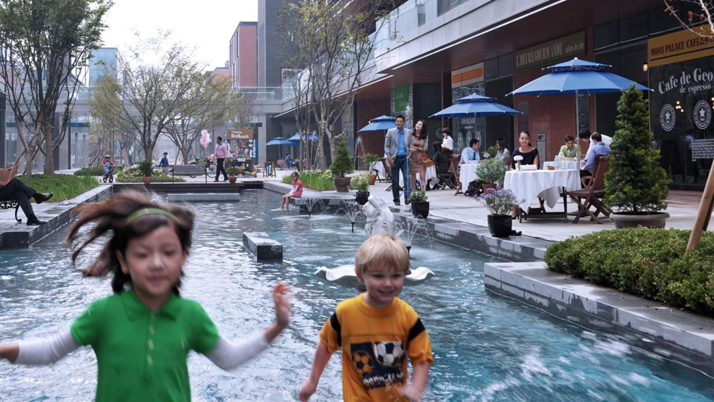 Shopping: Der NC Cube Canal Walk in Songdo ist eine Mall entlang eines künstlichen Kanals.