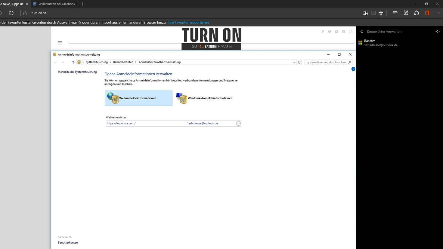 Microsoft Edge Webanmeldeinformationen