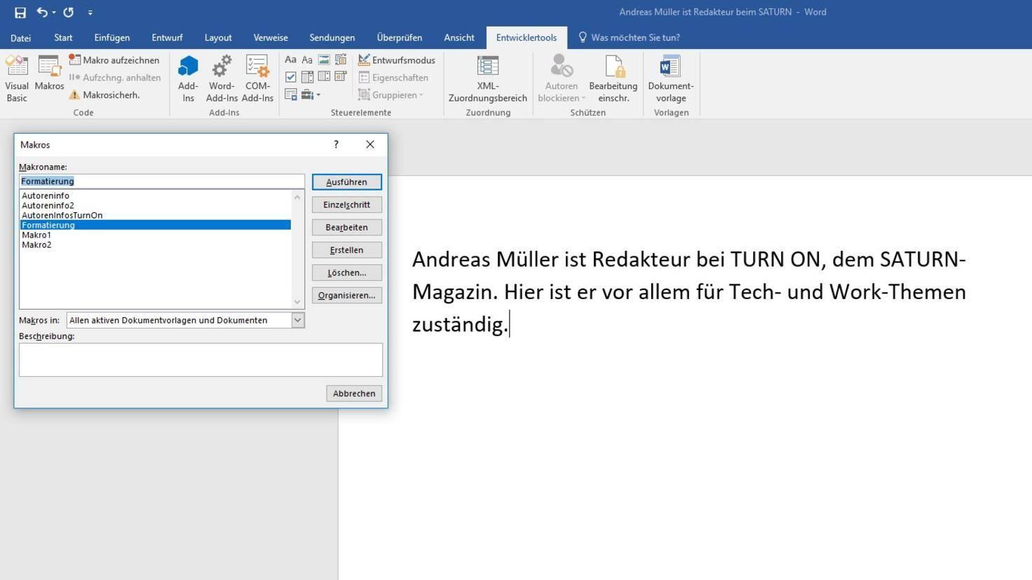 Microsoft Word Makros 2