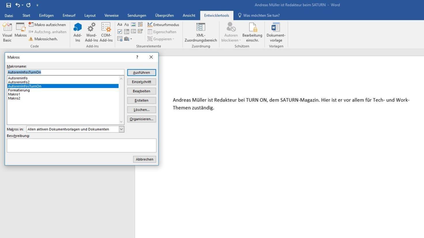 Microsoft Word Makros