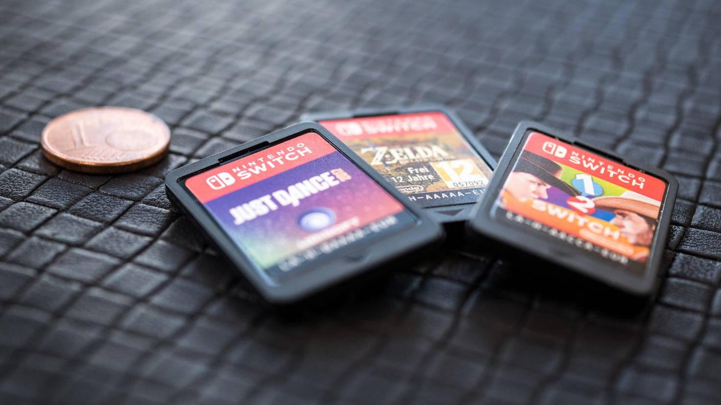 Klein, aber fein: Spielmodule der Nintendo Switch.