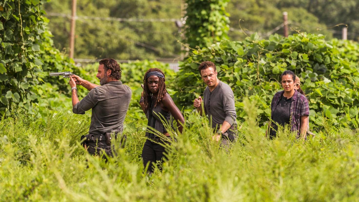 Rick, Michonne, Aaron und Tara auf der Pirsch.