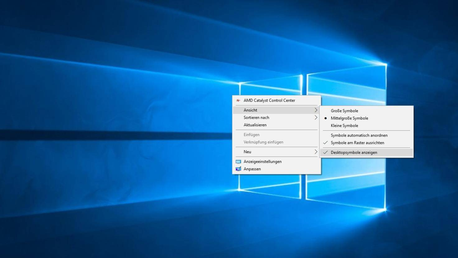Windows 10 Desktopsymbole ausblenden