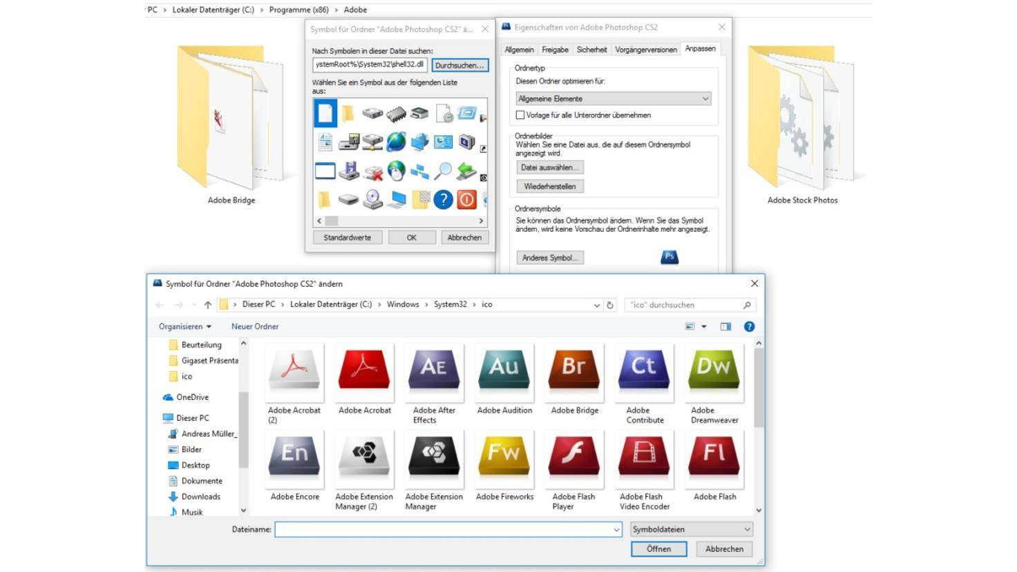Windows 10 Ordner Symbole