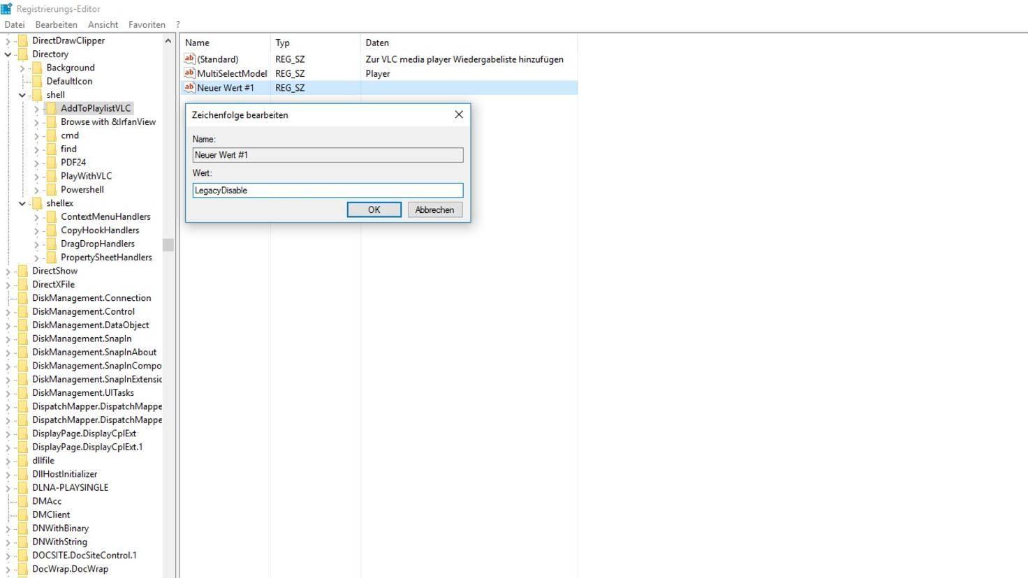 Windows 10 Registry Kontextmenü