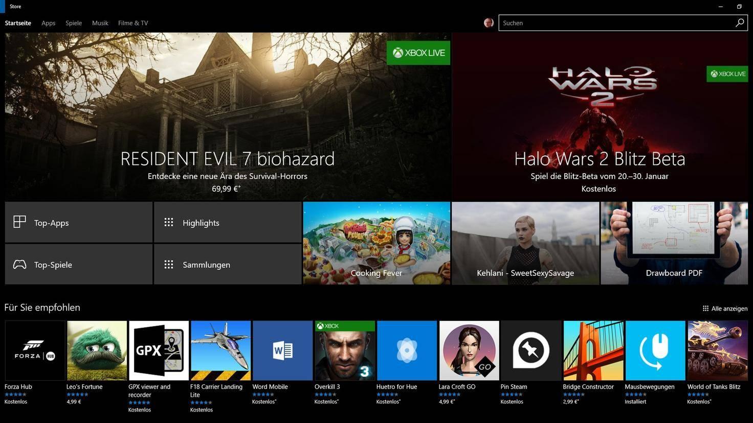Windows 10 Store Startseite