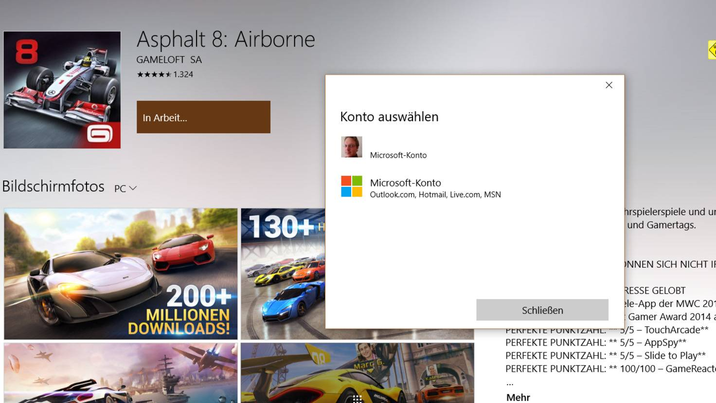 Windows Store Asphalt 8
