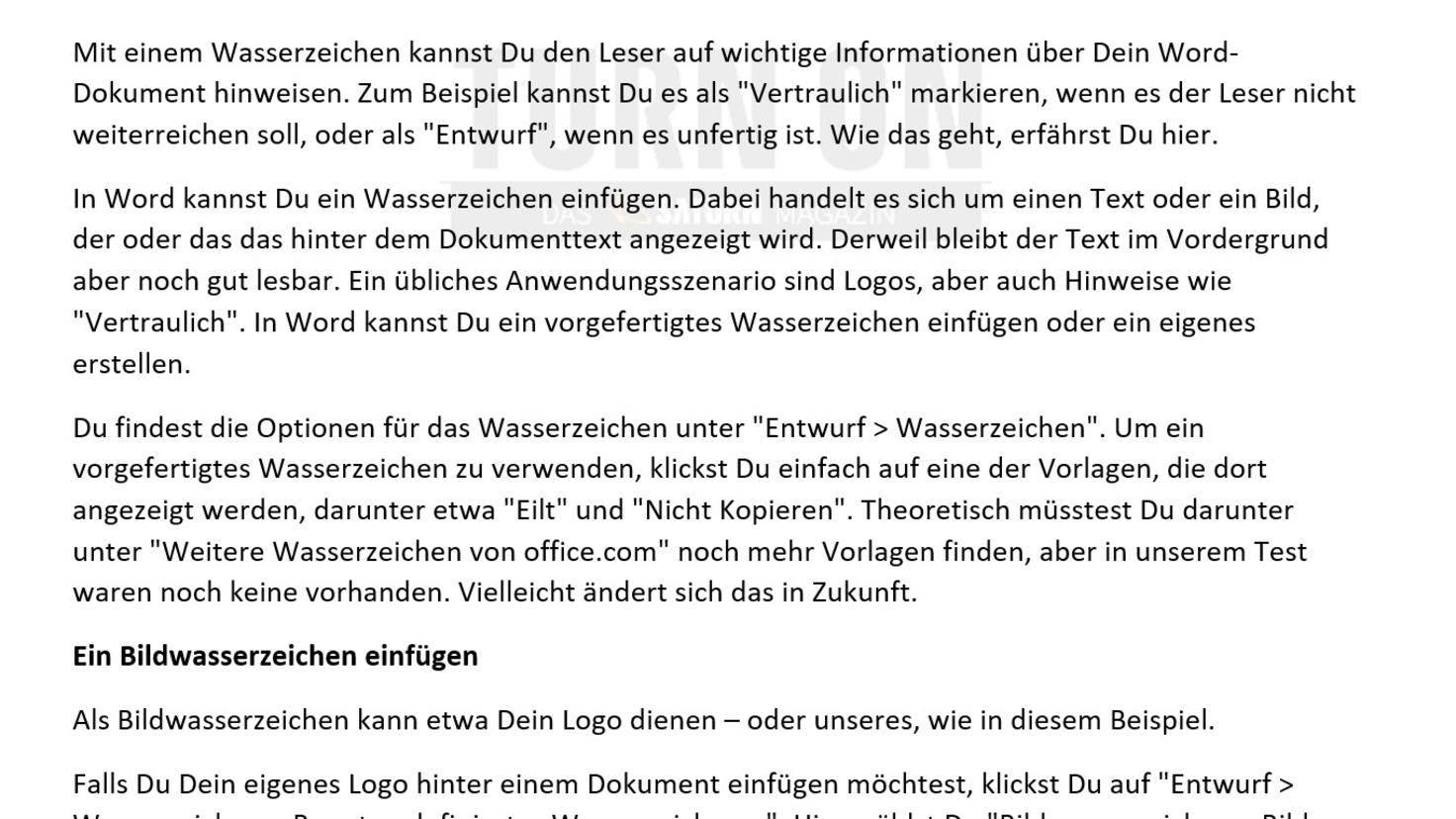 Word 2016 Wasserzeichen Kopfzeile
