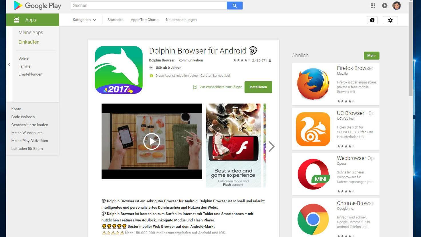 Auf Android Flash installieren: Der Dolphin