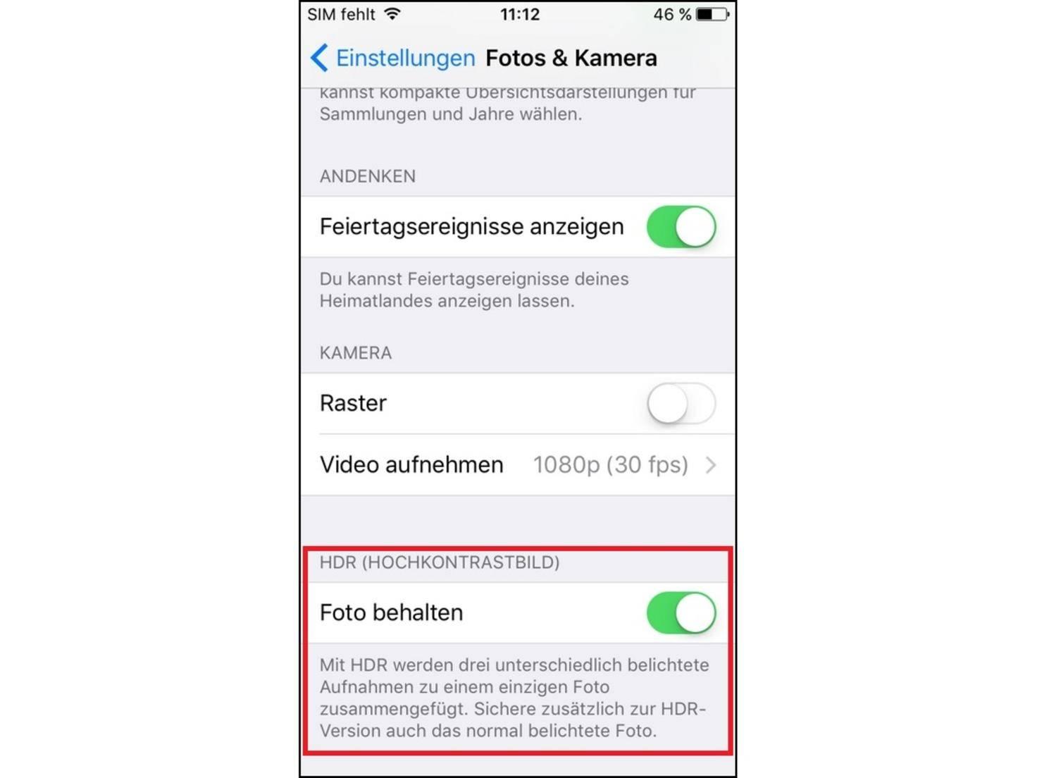 iPhone Foto behalten