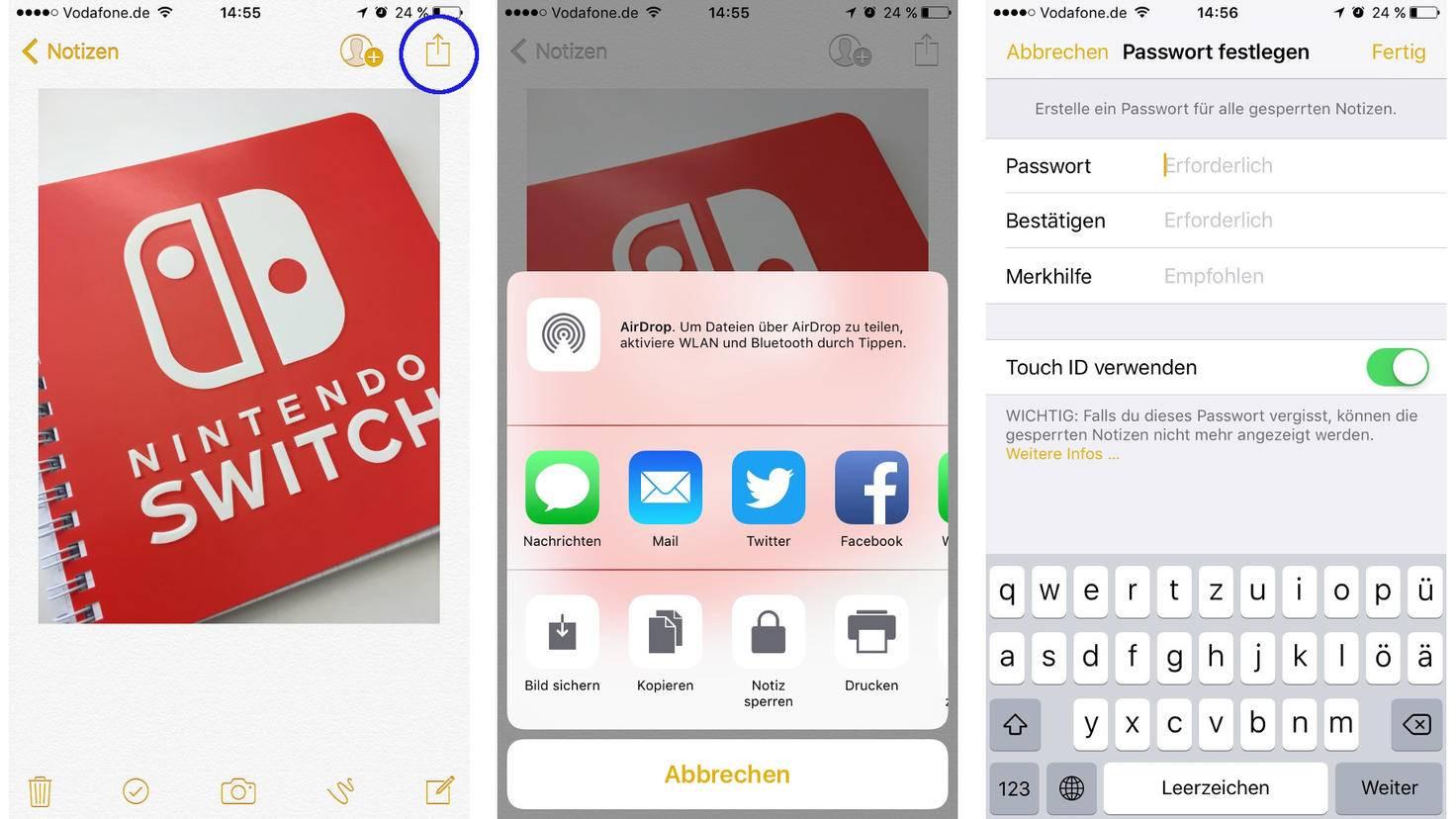 iPhone Notizen Sperren