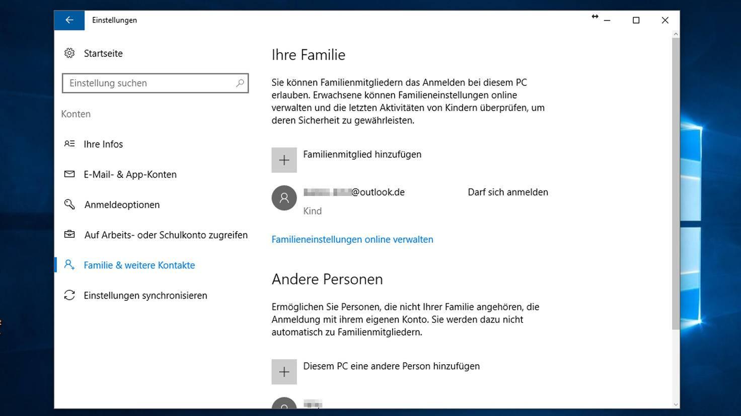 Kindersicherung unter Windows 10