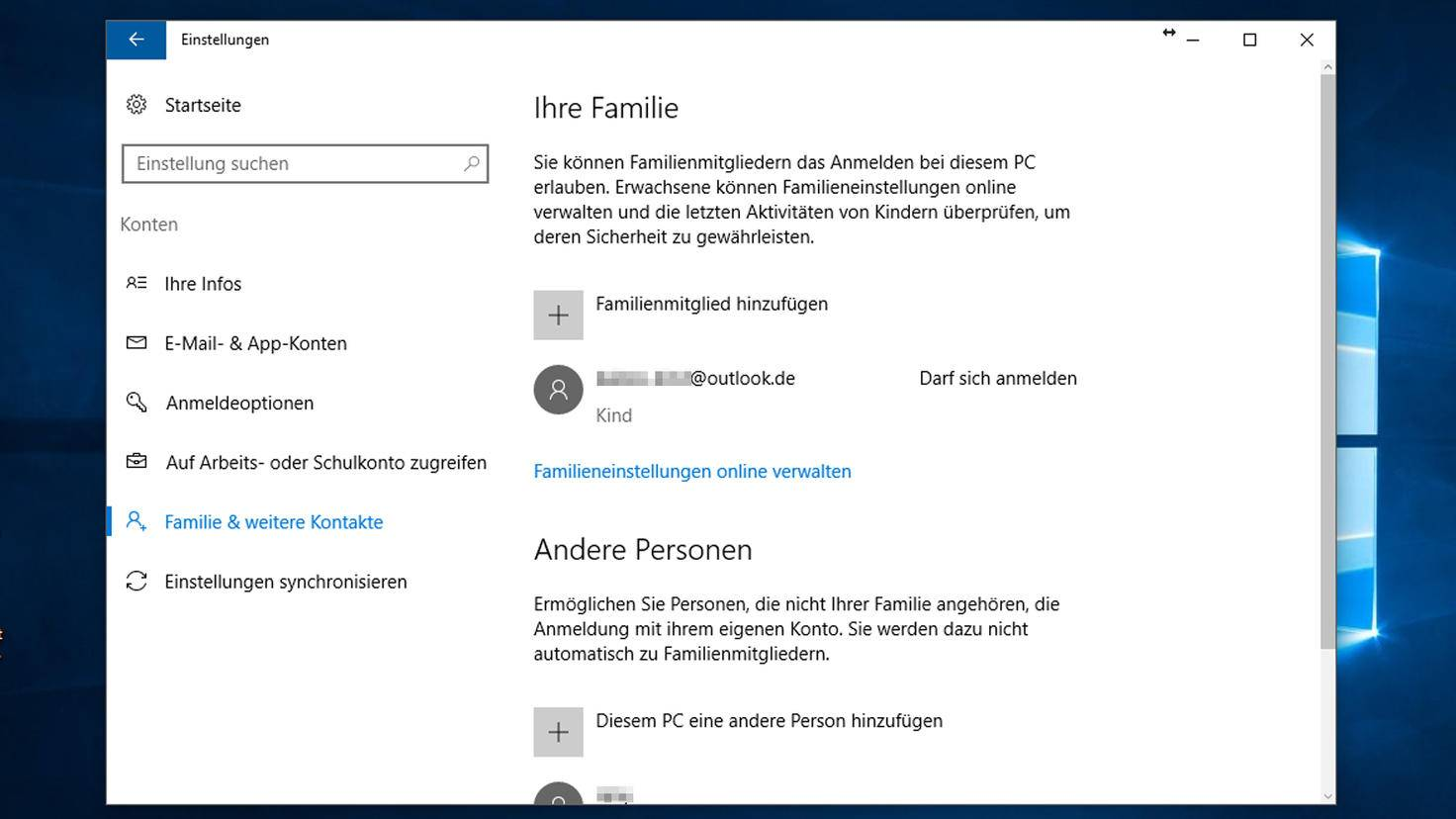 Kindersicherung unter Windows 10