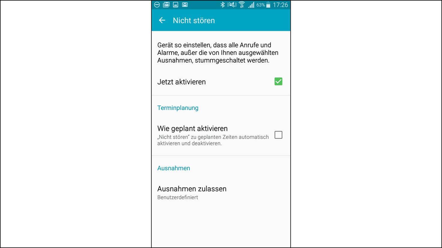 Nicht Stören Modus bei Android