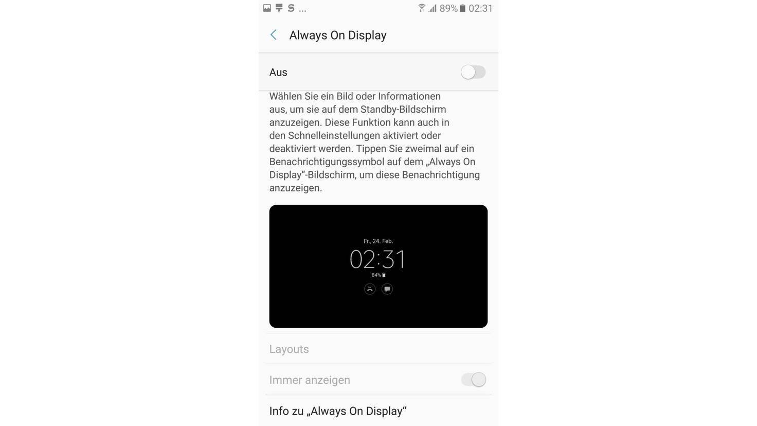 Always On Display Galaxy S5 2017 Screenshot