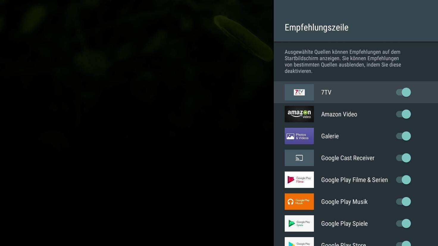 Android TV Empfehlungen