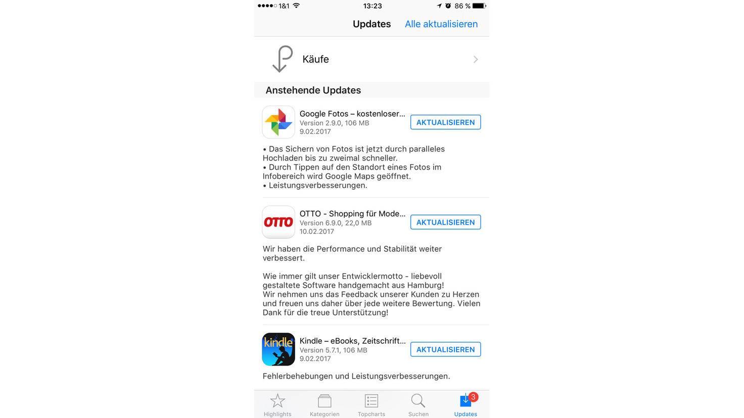"""Im App Store ist im Bereich """"Updates"""" auch die manuelle Aktualisierung aller Apps möglich."""