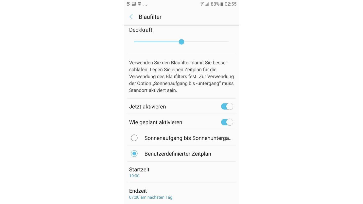 Blaufilter Galaxy A5 2017