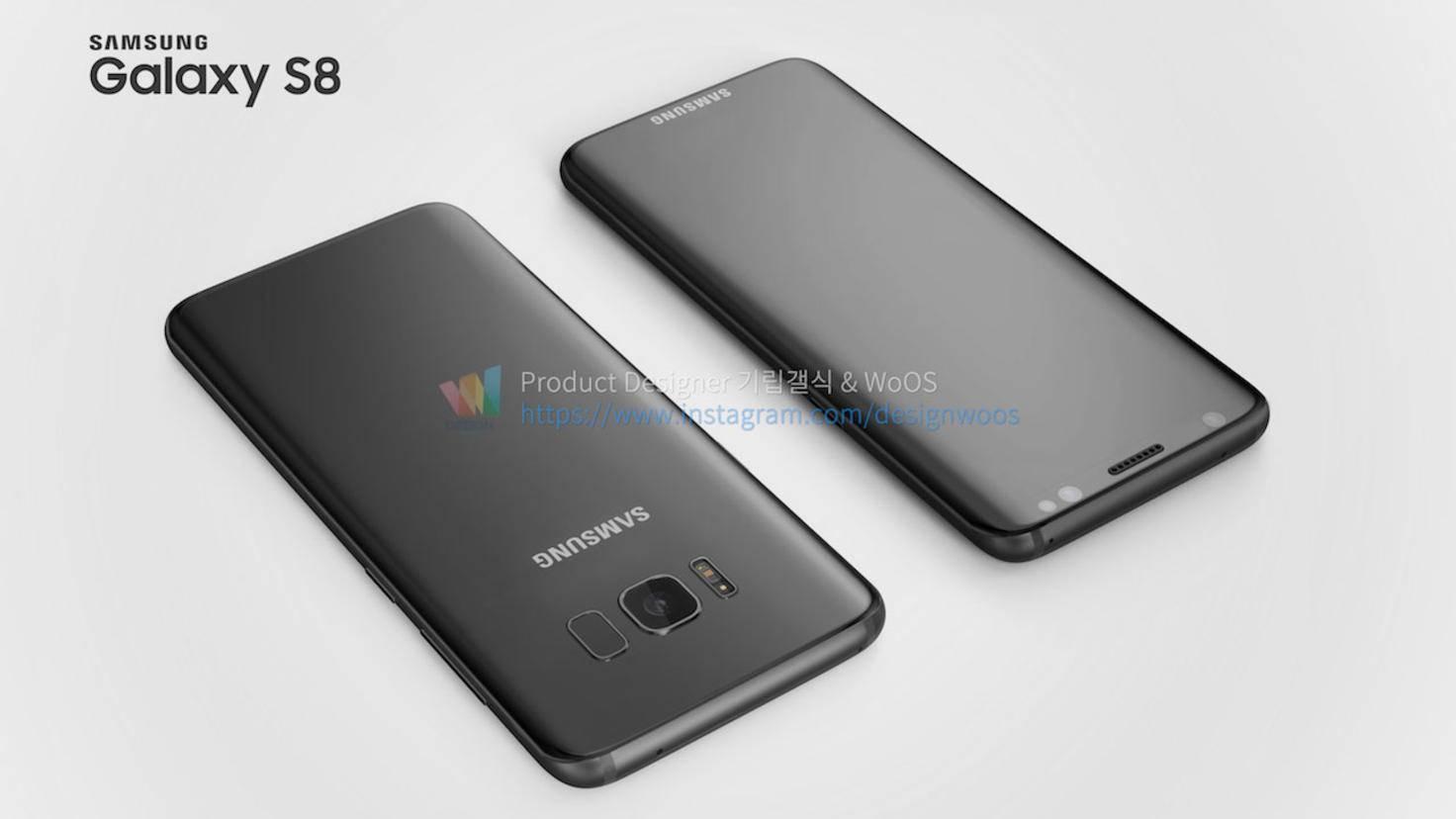 So könnten Vorder- und Rückseite des Galaxy S8 aussehen.