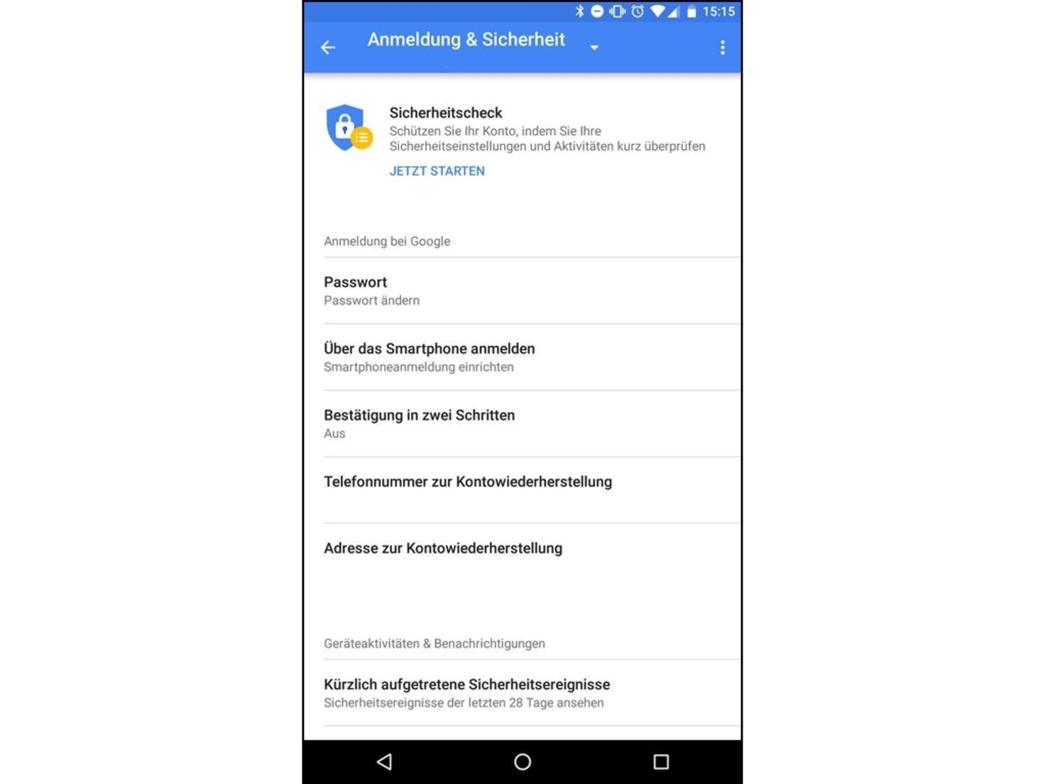 """Log geht's in """"Einstellungen > Google > Anmeldung & Sicherheit""""."""