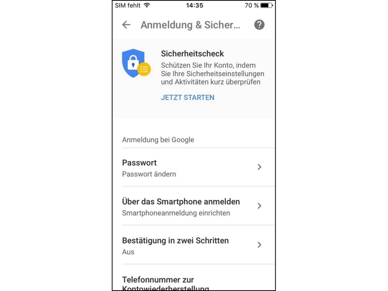"""Anschließend wählst Du den Eintrag """"Über das Smartphone anmelden""""."""