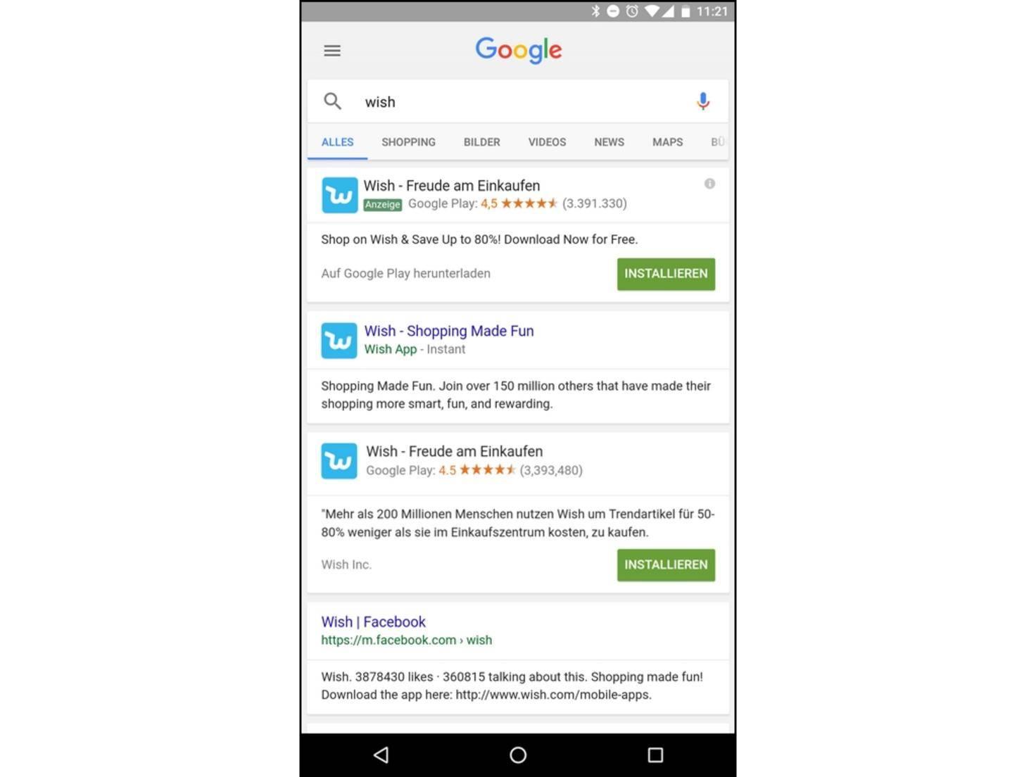 In der Google-Suche erscheint Wish auch als Instant App.