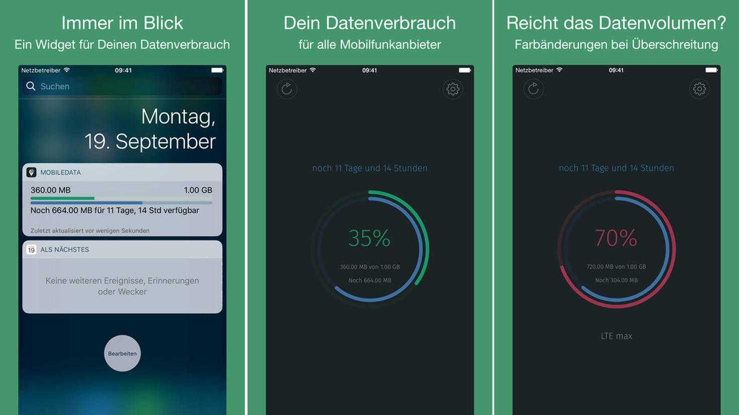 Neigt sich Dein freies Datenvolumen dem Ende? Die App MobileDara warnt Dich rechtzeitig.